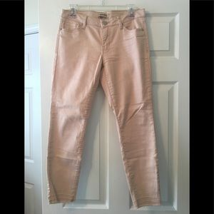 Blush colored raw hem jeans!